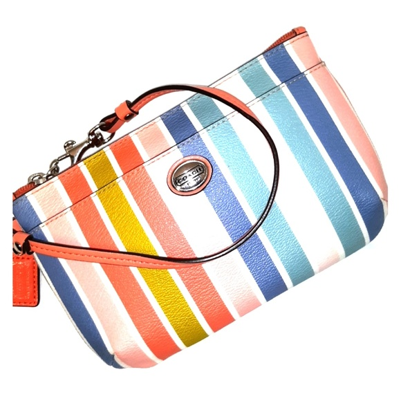 Coach Handbags - Like New-Coach Peyton Large Multicolor Stripe Wris